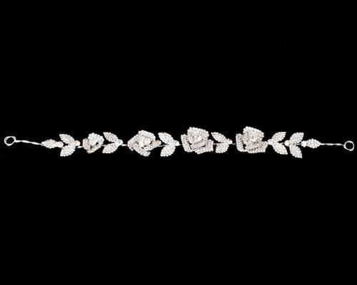 "11"" Silver Floral Rose Rhinestone Bridal Hair Band"