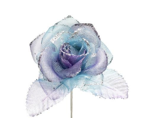 """2.5"""" Purple Blue Tie Dye Glitter Organza Single Rose Flower  - Pack of 12"""