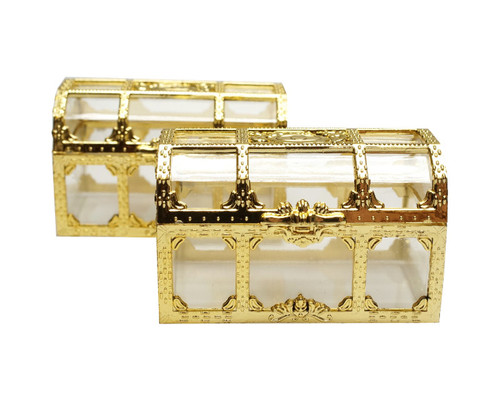 """2.5"""" Gold Treasure Chest Gift Favor Box - Pack of 12"""