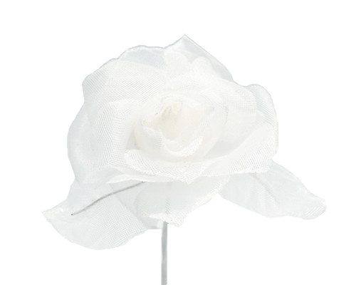 "2.5"" White Glitter Organza Single Rose Flower  - Pack of 12"