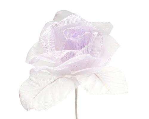 "2.5"" Lavender Glitter Organza Single Rose Flower  - Pack of 12"