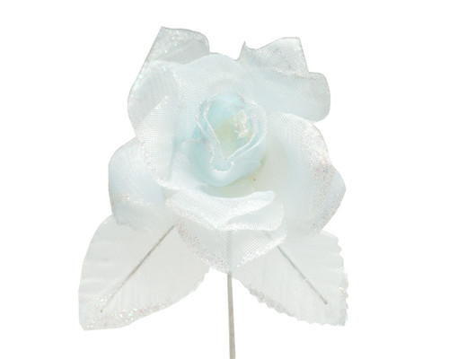 "2.5"" Blue Glitter Organza Single Rose Flower  - Pack of 12"