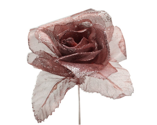 "2.5"" Burgundy Glitter Organza Single Rose Flower  - Pack of 12"