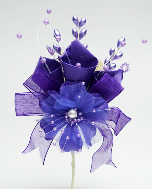 "7"" Purple Large Silk Calla Lily Corsage Flowers - Pack of 12"