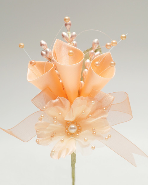 "7"" Peach Large Silk Calla Lily Corsage Flowers - Pack of 12"