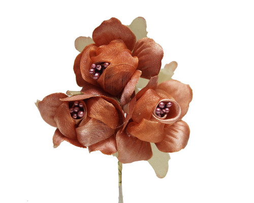 "1 3/4"" Rust Satin Silk Flowers with Pearl - Pack of 36"
