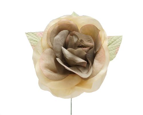 """5"""" Dark Beige Single Rose Silk Flowers - Pack of 12"""