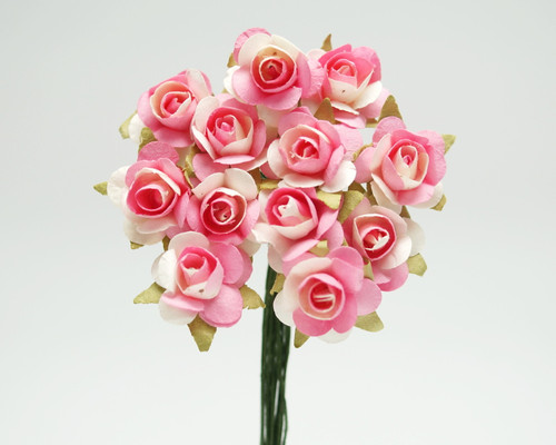 """1/2"""" Pink-Ivory Small Rose Mulberry Craft Paper Flowers - Pack of 144"""