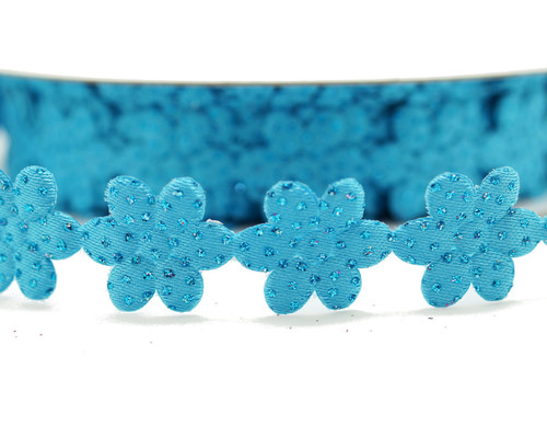 "3/4"" x 25 Yards Turquoise Polyester Flower with Glitter Sparkles Ribbon - Pack of 5 Rolls"
