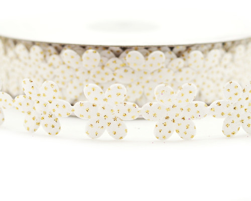 "3/4"" x 25 Yards White Polyester Flower with Gold Glitter Sparkles Ribbon - Pack of 5 Rolls"