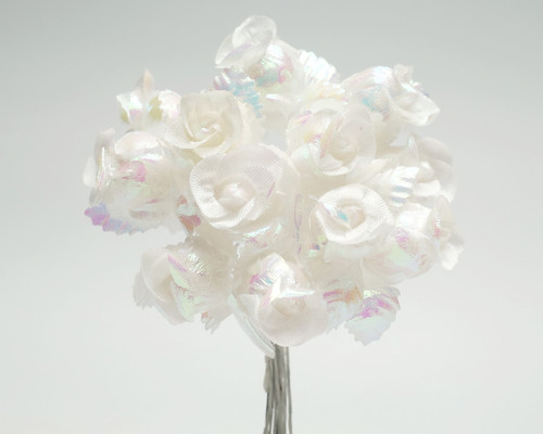 AB White Polyester Rose - Pack of 144