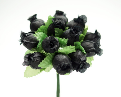Black Polyester Rose - Pack of 144