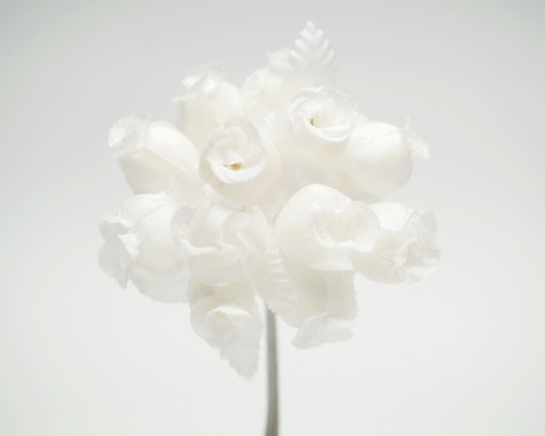 White/White Polyester Rose - Pack of 144