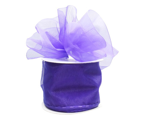 """2 3/4""""x25 yards Solid Purple Organza Pull Bows Gift Ribbon - Pack of 3 Rolls"""