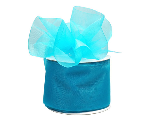 "2 3/4""x25 yards Solid  Turquoise Organza Pull Bows Gift Ribbon - Pack of 3 Rolls"