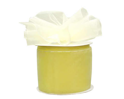 """2 3/4""""x25 yards Solid Light Yellow Pull Bows Gift Ribbon - Pack of 3 Rolls"""