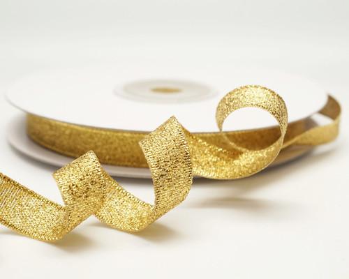 "3/8"" x 25 Yards Gold Metallic Taffeta Gift Ribbon - Pack of 15 rolls"