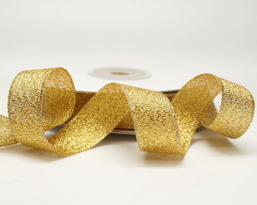 "5/8"" x 25 Yards Gold  Metallic Taffeta Gift Ribbon - Pack of 10 rolls"