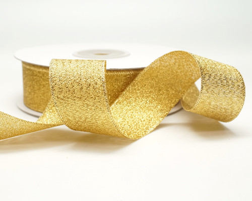 "7/8"" x 25 Yards Gold Metallic Taffeta Gift Ribbon - Pack of 7 rolls"