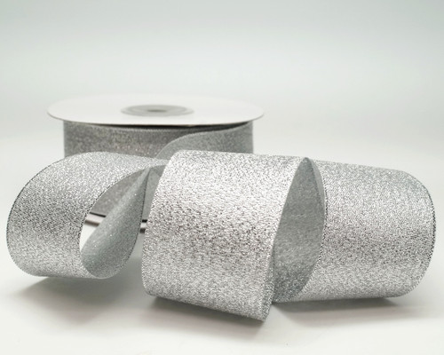 "1.5"" x 25 Yards Silver Metallic Taffeta Gift Ribbon - Pack of 5 rolls"