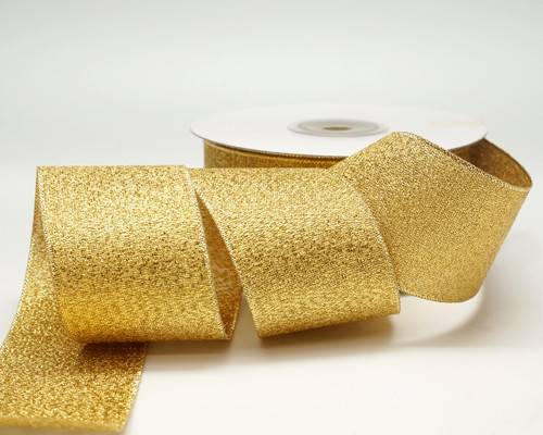"1.5"" x 25 Yards Gold Metallic Taffeta Gift Ribbon - Pack of 5 rolls"