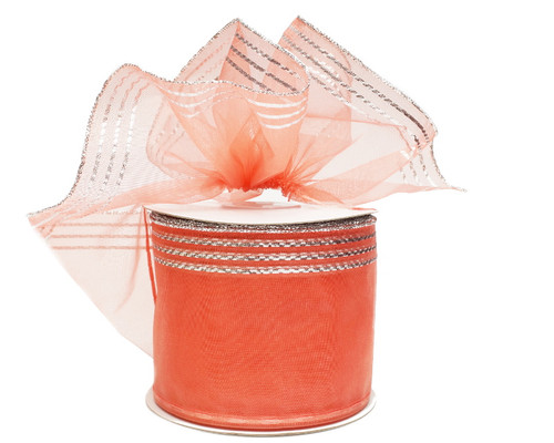 """2 3/4""""x25 yards Coral-Silver Organza Pull Bows Gift Ribbon - Pack of 3 Rolls"""