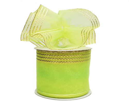 """2 3/4""""x25 yards Apple Green-Gold Organza Pull Bows Gift Ribbon - Pack of 3 Rolls"""