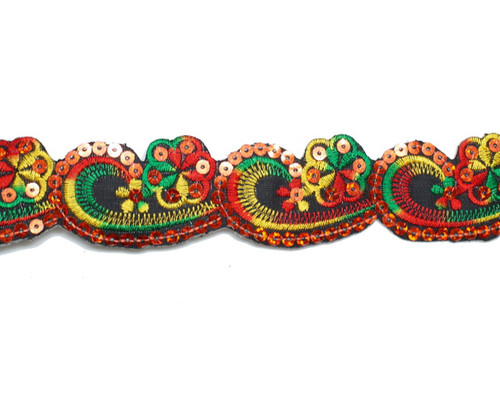 "1.5"" x 5 Yards Red-Green Mayan Floral Embroidery Iron-On Trim"