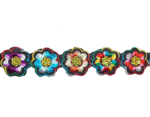 "1.5"" x 5 Yards Multicolor Floral Embroidery Sequin Iron-On Trim"