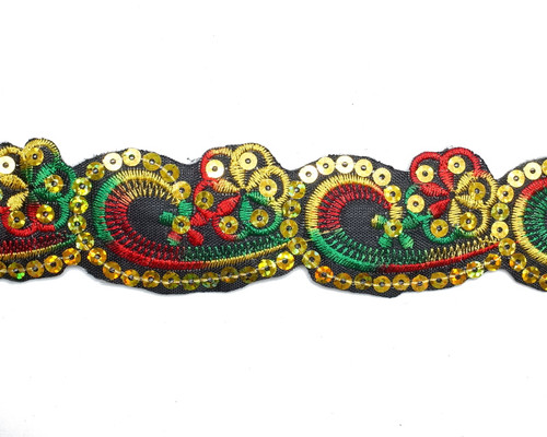 "2"" x 5 Yards Green-Yellow Mayan Floral Embroidery Iron-On Trim"