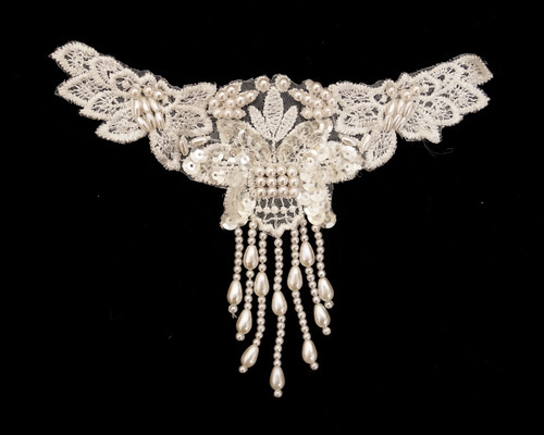 "6.5"" Wide x 5.5"" Ivory Long Venise Lace Flapper Style Applique - Pack of 24 Appliques"