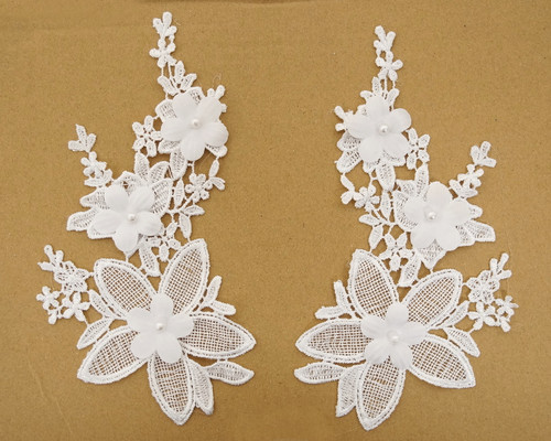 "4.5"" Wide x 8.75"" Long White Floral Bridal Venice Lace with Faux Pearls - Pack of 25 Venise Lace Collar Pairs"