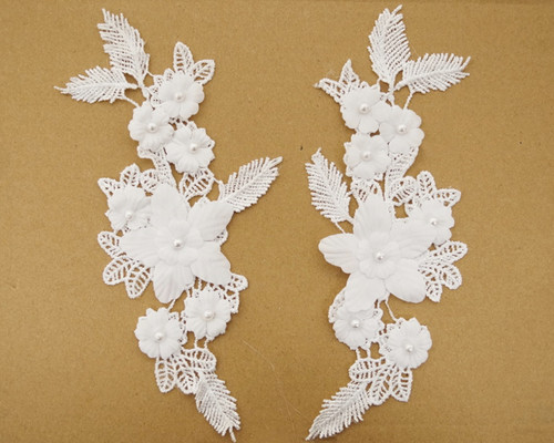 "3.25"" Wide x 9.25"" Long White Floral Bridal Venice Lace with Faux Pearls - Pack of 25 Venise Lace Collar Pairs"