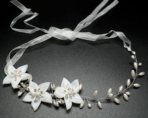 "12"" White Flower Faux Pearl Bridal Hair Band with Rhinestones  - 1 Piece"