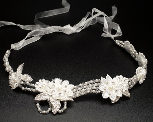"13"" White Flower Faux Pearl Bridal Hair Band with Rhinestones  - 1 Piece"