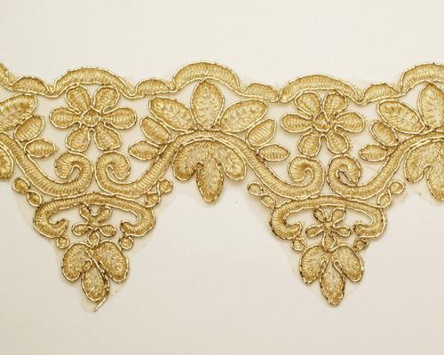 """4.25"""" x 15 Yards Gold Venice Floral Lace Trim"""