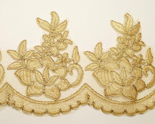 """4.75"""" x 15 Yards Gold Venice Floral Lace Trim"""