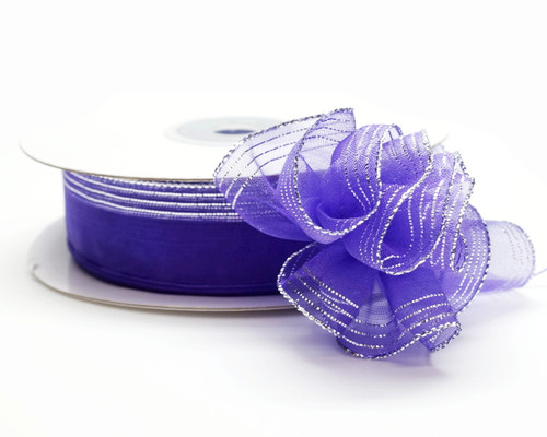 """7/8""""x25 yards Purple Organza Pull Bows Ribbon with Silver Edge - Pack of 7 Rolls"""