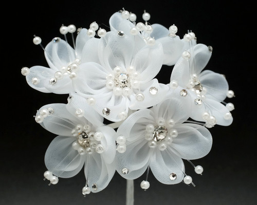 "1.5"" White Organza Rhinestone Flower with Pearl Sprays - Pack of 72"