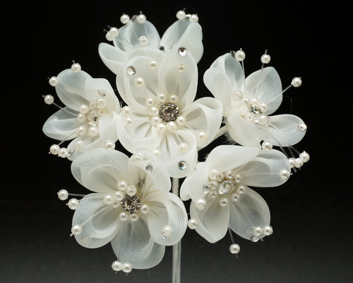 "1.5"" Ivory Organza Rhinestone Flower with Pearl Sprays - Pack of 72"