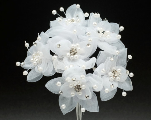 "1.5"" White Organza Rhinestone Flower  - Pack of 72"