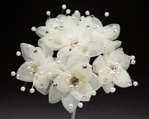 "1.5"" Ivory Organza Rhinestone Flower  - Pack of 72"