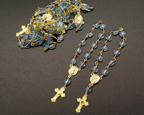 "3.5"" Blue Gold Miniature Rosaries - Pack of 100 Mini Rosary Favors"