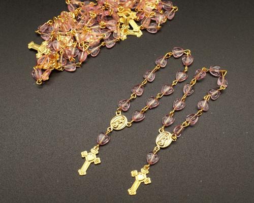 "3.5"" Pink Gold Miniature Rosaries - Pack of 100 Mini Rosary Favors"
