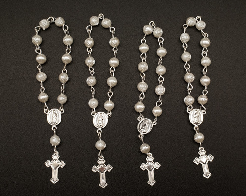 """3.5"""" White Silver Miniature Rose Bead Rosaries - Pack of 100 Mini Rosary Favors"""