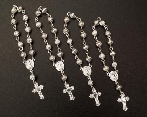 """3.5"""" Silver Miniature Rose Bead Rosaries - Pack of 100 Mini Rosary Favors"""