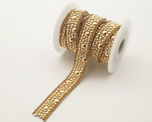 """3/4"""" x 5 Yards Gold AB Faux Pearl Iron-On Rhinestone Seam Trim"""