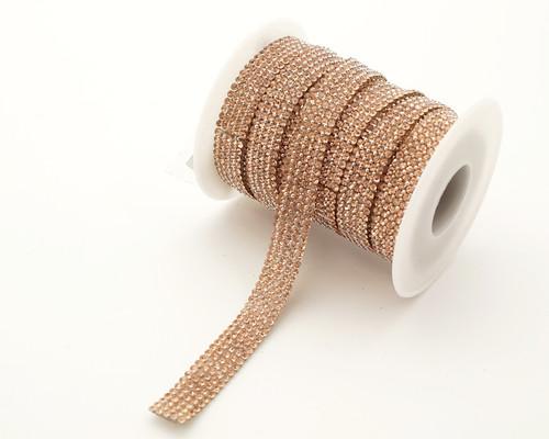 "2/5"" x 5 Yard Rose Gold Iron-On Crystal Rhinestone Seam Trim"