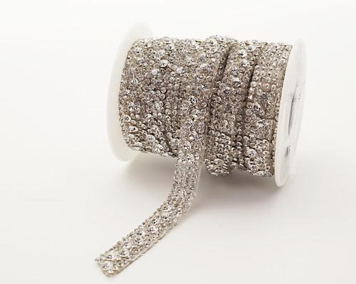 """2/5"""" x 5 Yard Silver Iron-On Crystal-Studded Rhinestone Seam Trim"""