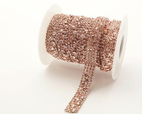 "2/5"" x 5 Yard Rose Gold Iron-On Crystal-Studded Rhinestone Seam Trim"